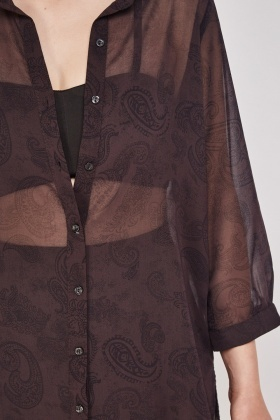 Sheer Paisley Print Blouse