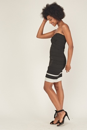 Textured Bandage Bandeau Dress