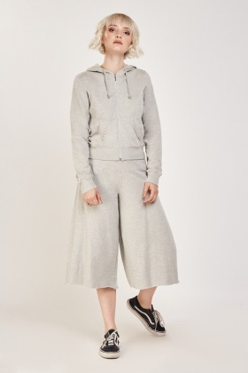 Zipped Hoodie And Cropped Pants Set