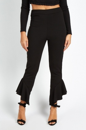 Asymmetric Frilly Hem Trousers