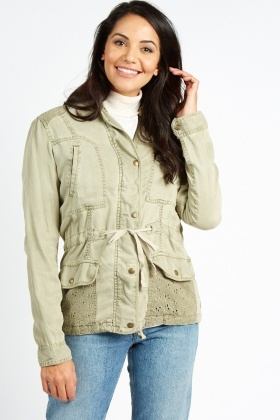 Broderie Insert Light Parka Jacket