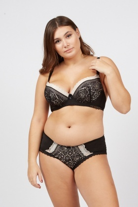 Contrast Lace Bra And Brief Set