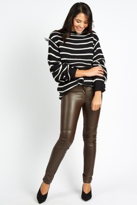 Contrasted Back Faux Leather Pants