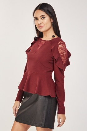 Lace Insert Frilly Peplum Top
