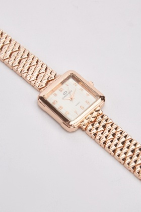 Metallic Square Face Watch