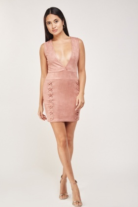Plunge Suedette Bodycon Dress