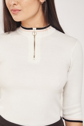 Zip Up Ribbed Knitted Jumper