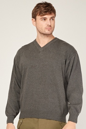 Casual V-Neck Knitted Jumper