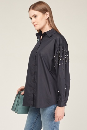 Faux Pearl Gathered Sleeve Shirt