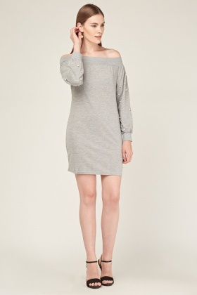 Faux Pearl Sleeve Off Shoulder Jumper Dress