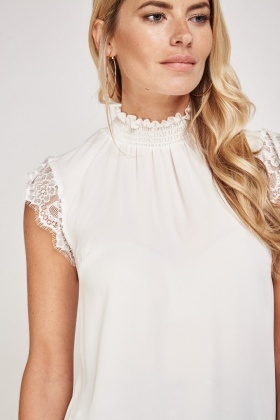 Lace Trim Sheer Ruched Neck Top