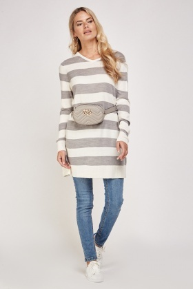 V-Neck Striped Fine Knit Long Jumper