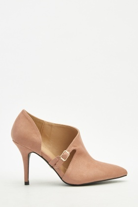 Cut Out Side Suedette Court Heels