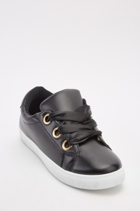 Sateen Lace Up Plimsolls
