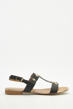 Studded Buckle Strap Sandals