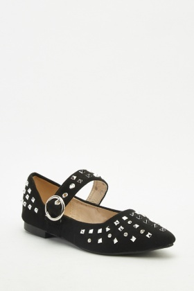 Studded Suedette Mary-Jane Flats