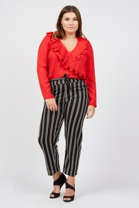 Belted Pin Striped Trousers