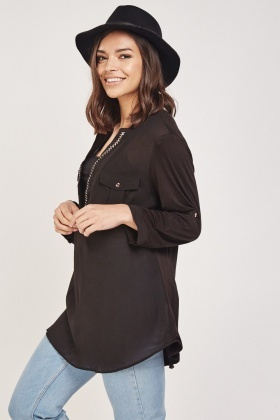 Contrasted Slit Front Blouse