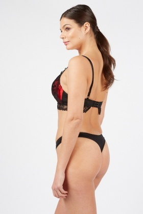 Laced Overlay Contrast Bra And Brief Set