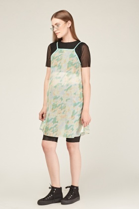 Printed Sheer Organza Tent Dress