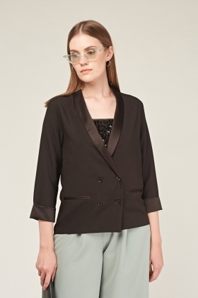 Sateen Shawl Collar Blazer
