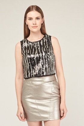 Spiral Sequin Embellished Crop Top
