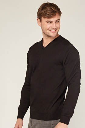 V-Neck Knitted Casual Jumper
