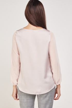 Contrast Sleeve Casual Top
