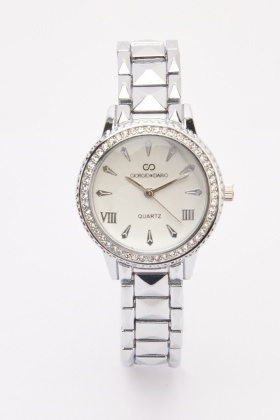 Diamante Trim Metal Watch