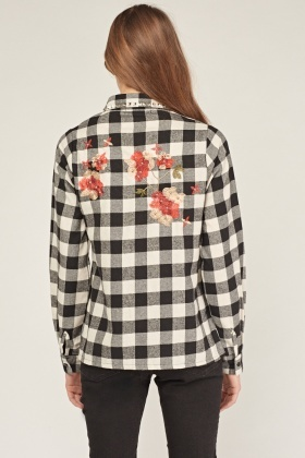 Embroidered Studded Checked Shirt