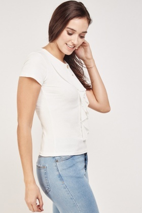 Ruffle Contrast Ribbed Top
