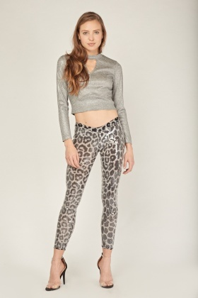 Sequin Leopard Print Leggings
