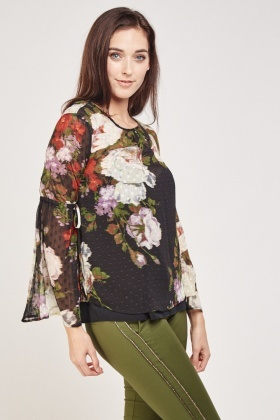 Sheer Floral Flare Sleeve Blouse