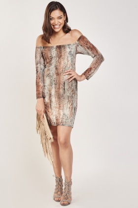 Snake Printed Off Shoulder Dress