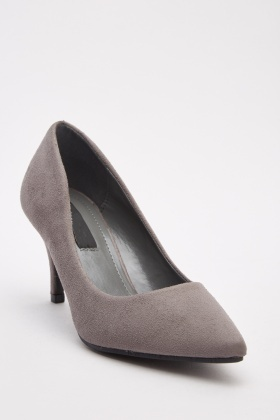 Brushed Suedette Court Heels