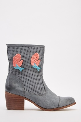 Embroidered Perforated Ankle Boots