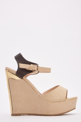 Metallic Contrast Wedge Sandals
