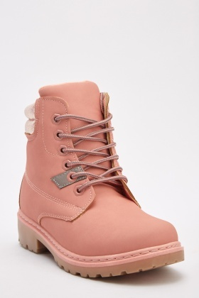 Metallic Lace Up Hiking Boots