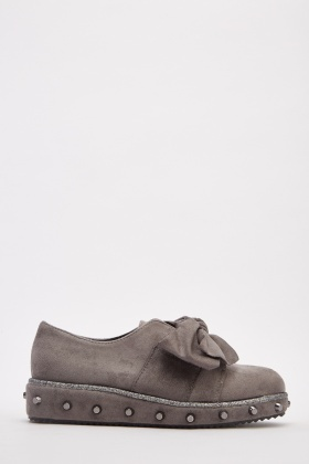 Suedette Knotted Bow Front Shoes