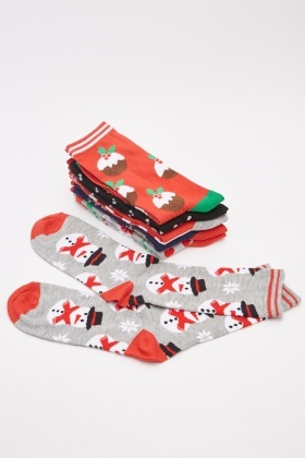 6 Pairs Ladies Christmas Novelty Socks