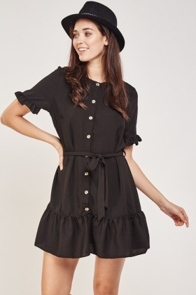 Button Front Frilly Trim Dress
