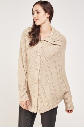 Cable Knit Cardigan Style Cape
