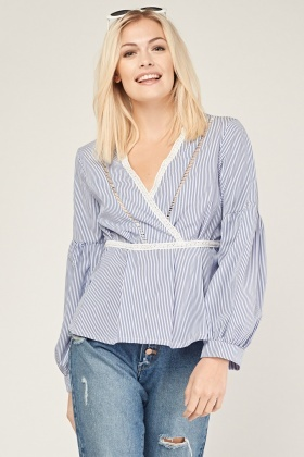 Crochet Trim Striped Wrap Top