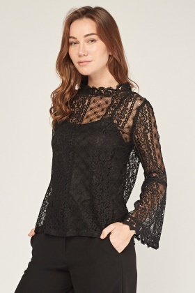 Flared Lace Sleeve Blouse