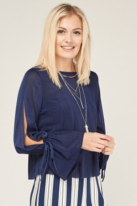 Frilly Tie Up Sleeve Plisse Top