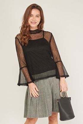 Mesh Overlay Frilly Sleeve Top