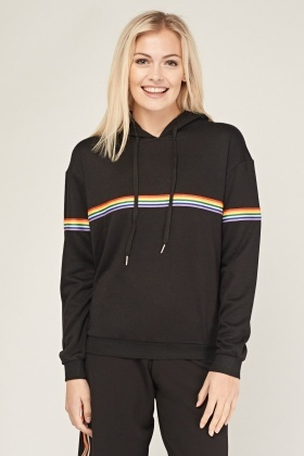 Rainbow Striped Trim Hoodie