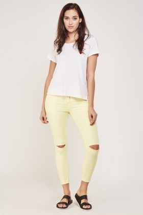 Yellow Raw Hem Ripped Jeans