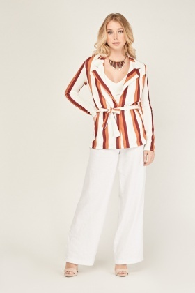 Tie Up Waist Collar Stripe Blazer