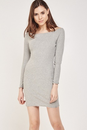 Embellished Edge Bodycon Rib Dress